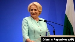 Romanian Prime Minister Viorica Dancila speaks during a news conference last month.