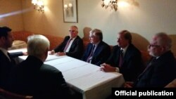 U.S. - Armenian Foreign Minister Edward Nalbandian (3rd from L) meets with OSCE Minsk Group co-chairs in New York, 24Sep2015
