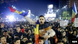 Акция протеста в Бухаресте, 5 ноября 2015 года.
