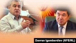 «Ата Мекен» партиясынын лидери Өмүрбек Текебаев жана өкмөт башчы Мухаммедкалый Абылгазиев.