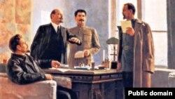 L.Trostki, V.Lenin, İ.Stalin və F.Dzerjinski