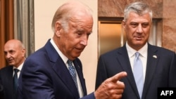 Kosovar President Hashim Thaci (right) with U.S. Vice President Joe Biden in Pristina in August 2016