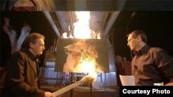 Картина из итальянского музея, сожженная в результате акций протеста против бюджетных сокращений, 19 апреля 2012 года.