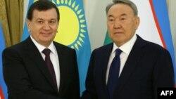 Қазақстан президенті Нұрсұлтан Назарбаевтың Өзбекстан президенті Шавкат Мирзияевпен кездесуі. Астана, 23 наурыз 2017 жыл.