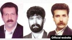 حمیدرضا آرایش (راست)٬ محمدعلی شمشیرزن (وسط) و کاظم دهقان پیشتر نیز در دادگاه شیراز به تبعید مادامالعمر محکوم شده بودند.