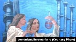 """Pictură de Mihaela Isac Crişan, """"Chimistele"""". Ulei pe pânză. Bucureşti, 1983. Sursa: comunismulinromania.ro (MNIR)"""