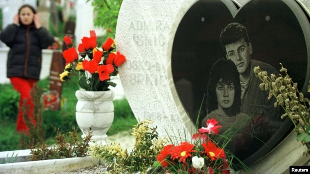 The gravestone for Admira Ismic and Bosko Brkic at Sarajevo's Lion Cemetery.