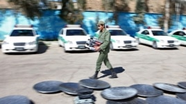 Iran – Satellite dishes removed from roofs and collected in a place among police cars in east Tehran, 21Feb2012