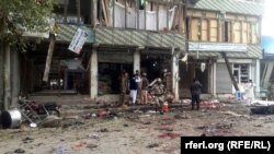 The scene in Jalalabad, in Nangarhar Province, after the suicide attack that killed at least 33 people and injured more than 100 others on April 18.