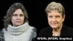 Russian journalists Yelena Milashina (left) and Svetlana Gannushkina (composite file photo)