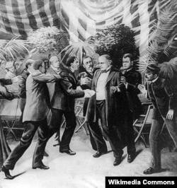 Покушение Леона Чолгоша на президента Уильяма Маккинли. Рисунок Т. Дарта Уолкера