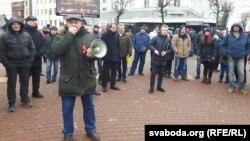 Уладзімер Шанцаў на «прагулцы недармаедаў» 19 лютага ў Магілёве