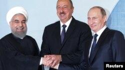 Hassan Rouhani, İlham Əliyev və Vladimir Putin