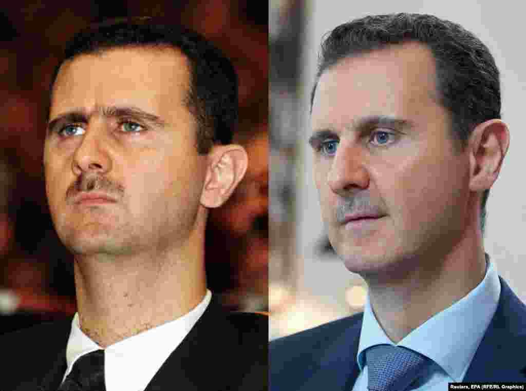 Syrian president Bashar al-Assad in 2000 (left) and 2015.