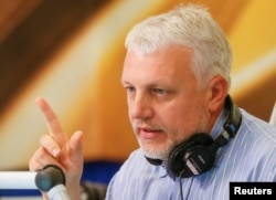 Pavel Sheremet talks on the air at a radio station in Kyiv in 2015.