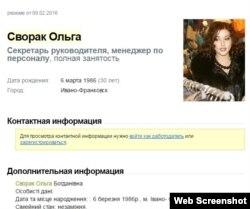Данные Ольги Сворак с сайта work.ua
