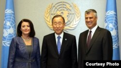 U.S. -- Kosovo's President Atifete Jahjaga and PM Hashim Thaci met with UN Secretary General, Ban Ki-moon, New York, 23Sep2012