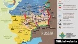 Украина шарқида 17 август кунги вазият акс этган харита.
