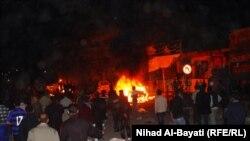 Террорлық жарылыстан кейінгі өрт. Ирак, Киркук қаласы, 11наурыз 2010 жыл
