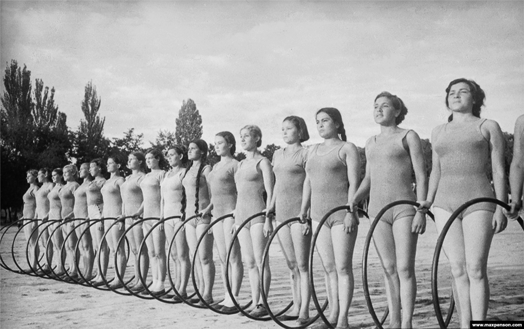 A lineup of young athletes in 1946. During World War II, Uzbekistan's demographic was altered dramatically when some of the U.S.S.R's heavy industry, along with its ethnic Russian and Ukrainian workforce, was evacuated to Central Asia.