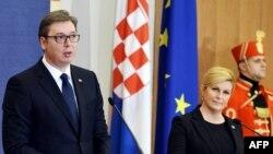 Претседателот на Србија Александар Вучиќ и претседателката на Хрватска Колинда Грабар Китаровиќ, Загреб, 12.02.2018.