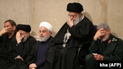 Iranian Supreme Leader Ayatollah Ali Khamenei, President Hassan Rouhani and the newly-appointed commander of the Qods Force Ismail Qaani, attend a mourning ceremony for slain top general Qassem Soleimani. January 9, 2020
