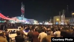 Screen grab from a video of protests in Mahshahr, Iran on January 6, 2018
