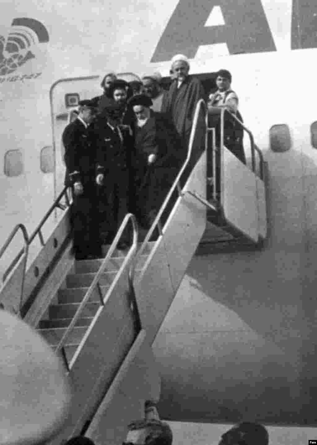 "Khomeini returns to Tehran (Fars) - Born in May 1900, by the time of the revolution, Khomeini had become the focus of Islamist opposition to the shah.In 1963, when the shah granted the vote to women and introduced other reforms, Khomeini declared it was the ""destruction of Islam"" in the country."