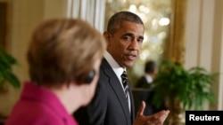Президент США Барак Обама и федеральный канцлер ФРГ Ангела Меркель на совместной пресс-конференции в Вашингтоне