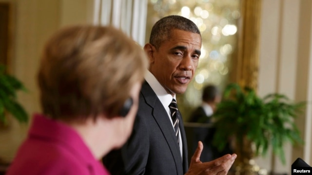 باراک اوباما، رییس جمهوری آمریکا همراه با آنگلا مرکل، صدراعظم آلمان