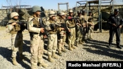 Afghan security forces at the police training center in Khost that was attacked on January 7.