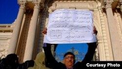 متظاهر يحتج على سياسة الرئيس مرسي - الارشيف