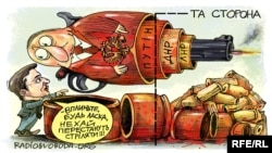 Zelenskiy və Putin, siyasi karikatura