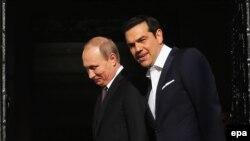 Путин и премьер-министр Греции Алексис Ципрас