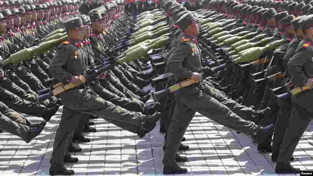 North Korean soldiers march past the podium during a military parade to celebrate the centenary of the birth of DPRK founder Kim Il Sung in Pyongyang on April 15. (Reuters)