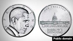 """Республиканцы уже представили, как выглядит монета в триллион долларов: профиль Обамы и надпись """"расходы"""". Иллюстрация: www.nrcc.org"""