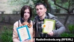 Лауреати літературної премії «Смолоскип» Оксана Гаджій та Лесик Панасюк