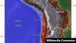 Чилидің топографиялық картасы. (Көрнекі сурет)