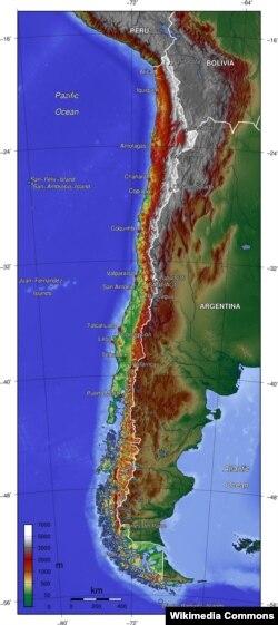 Топографическая карта Чили