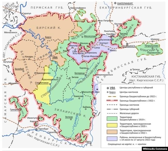 Желтым отмечена та часть Стерлитамакского уезда, которая должна была войти в состав Татарстана