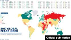 در این گزارش، ایران در رتبه ۱۲۹ جهان با رنگ زرد ردهبندی شده که از نظر میزان صلح و آرامش، جزو کشورهای «متوسط» جهان محسوب میشود.