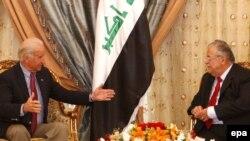 U.S. Vice President-elect Joe Biden (left) meets with Iraqi President Jalal Talabani.