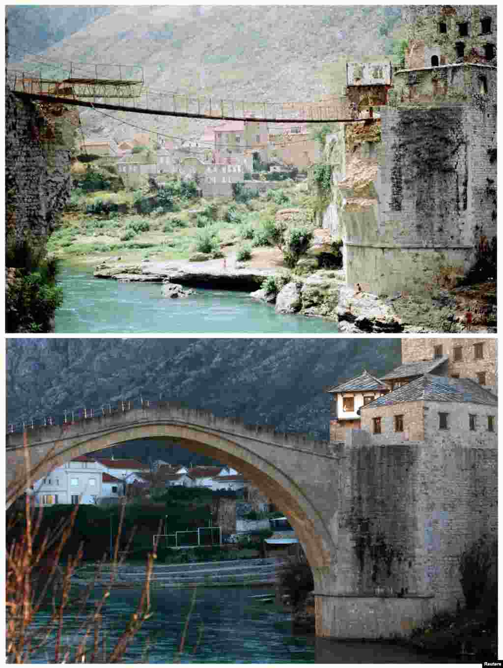 Men cross a river using a makeshift bridge in Mostar after the destruction of Mostar's centuries-old bridge in November 1993, which was later rebuilt. The same location is seen in the bottom picture on February 23, 2013.