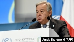 Antonio Guterres delivers a speech during the opening of the COP24 summit on climate change in Katowice on December 3.