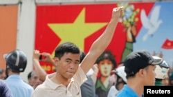 Антикитайские протесты в Хошимине. 18 мая 2014 года.