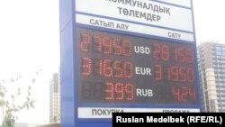 Алматыдағы банктердің біріндегі теңге мен доллар бағамы. 14 қыркүйек 2015 жыл.
