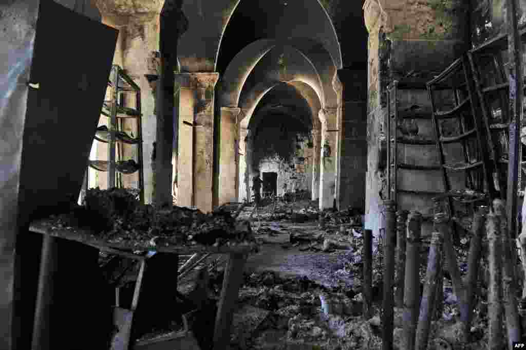 A burnt section of the Umayyad Mosque in the old city of Aleppo, October 14, 2012