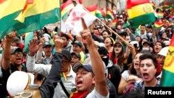 Pamje nga protestat kundër presidentit të Bolivisë, Evo Morales.