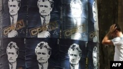 Posters of Radovan Karadzic in downtown Belgrade on July 28