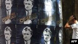 Posters of Radovan Karadzic in downtown Belgrade on July 28